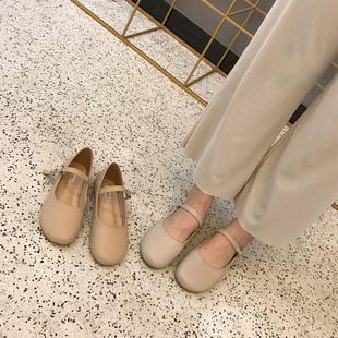 平底芭蕾鞋女19早春新款复古一字扣带软底乖乖鞋舒适软底懒人瓢鞋