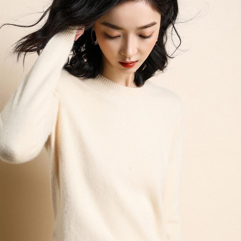 羊绒衫女秋冬新款圆领套头宽松长袖韩版百搭大码打底针织衫毛衣