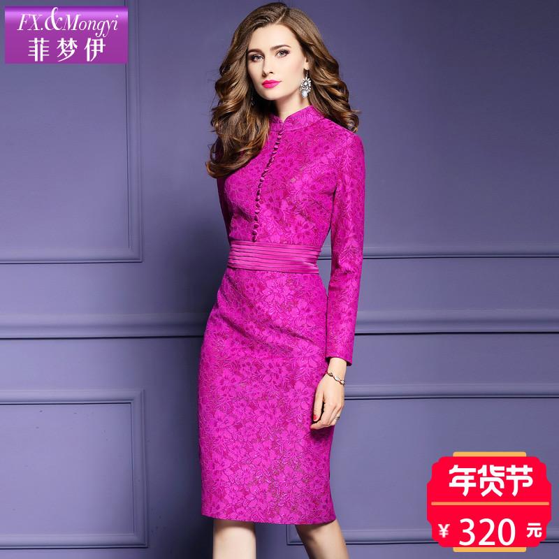 菲梦伊2017新秋装连衣裙女时尚立领复合蕾丝修身包臀打底裙12387