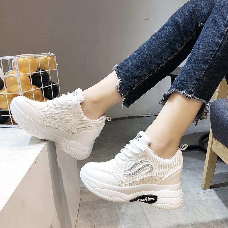 内增高小白鞋女8cm2019秋季新款洋气百搭显瘦ins潮厚底运动老爹鞋