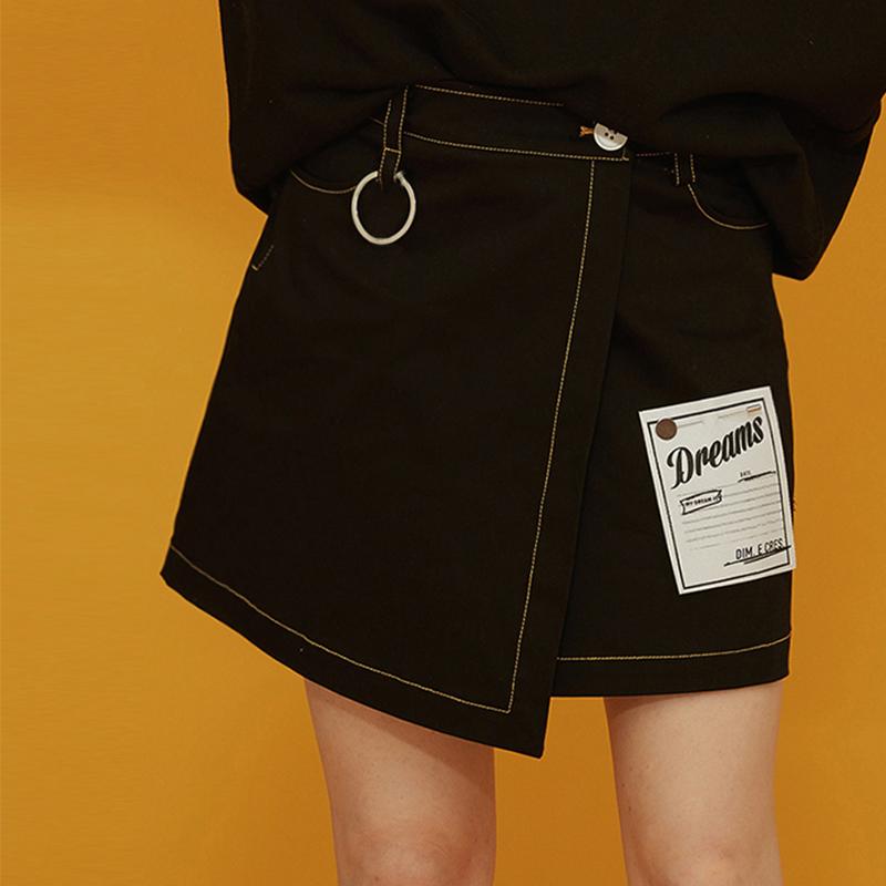 2018春季chic风时尚牛仔半身裙刺绣贴图黑色ulzzang不规则短裙潮