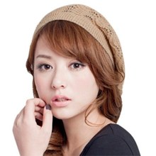2021年秋冬季新gl6韩款时尚ny薄镂空 女款针织毛线贝雷帽子