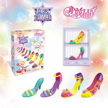 (小)花仙 女孩手工制ni6diy串uo仿真手链儿童玩具闪亮高跟鞋