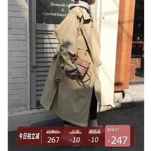 卡其色风衣女春装新式韩款双排扣宽ya13中长式am带薄式大衣