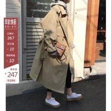 卡其色风衣女春装新式韩jz8双排扣宽91外套收腰系带薄式大衣