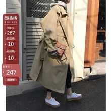 卡其色风衣女春装新式韩款双排扣宽2k13中长式55带薄式大衣