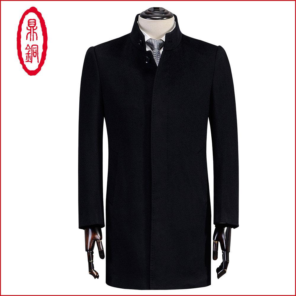 鼎铜羊毛大衣男中长款中年羊绒呢子毛呢冬季商务男士立领男装外套