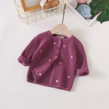 女宝宝针织开衫洋气(小)童红se9毛衣(小)外ke0-1-2岁纯棉婴幼儿