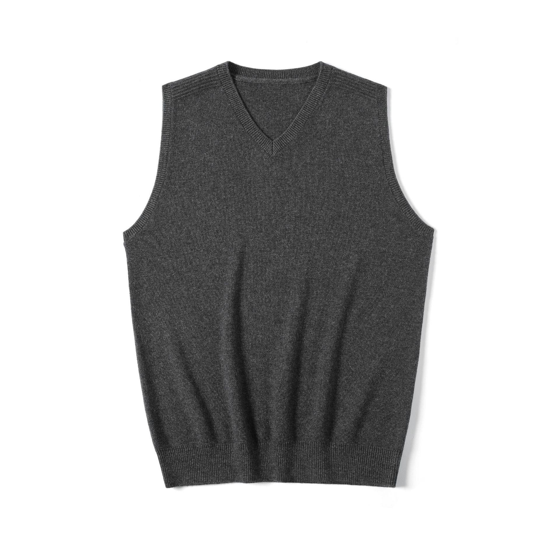 「衣道至简」秋冬新款黑灰色绵羊毛马甲背心基本款v领无袖针织衫