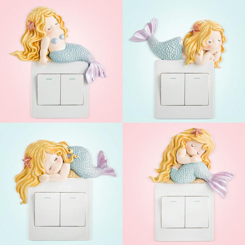 开关贴墙贴保护套家用3d立体创意客厅卧室美人鱼插座开关装饰贴