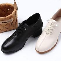 自然小铺 原创头层牛皮高跟鞋舒适圆头休闲女士真皮鞋子深口单鞋