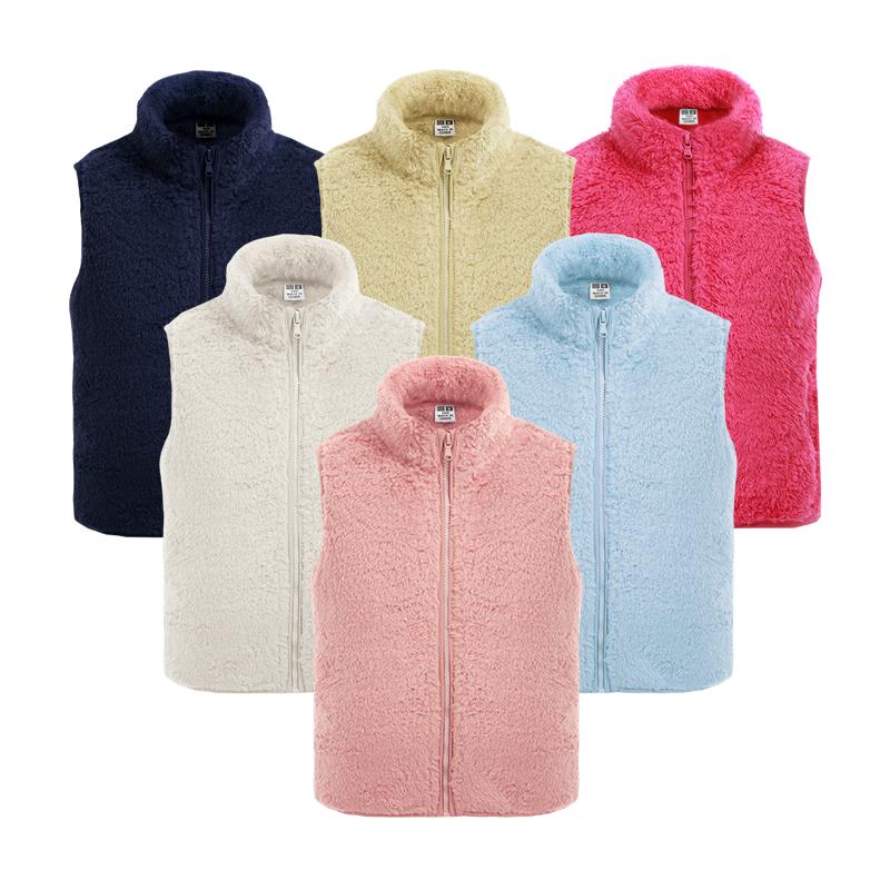 户外抓绒衣男女大童开衫立领背心夹克双面绒马甲加厚保暖毛绒外套