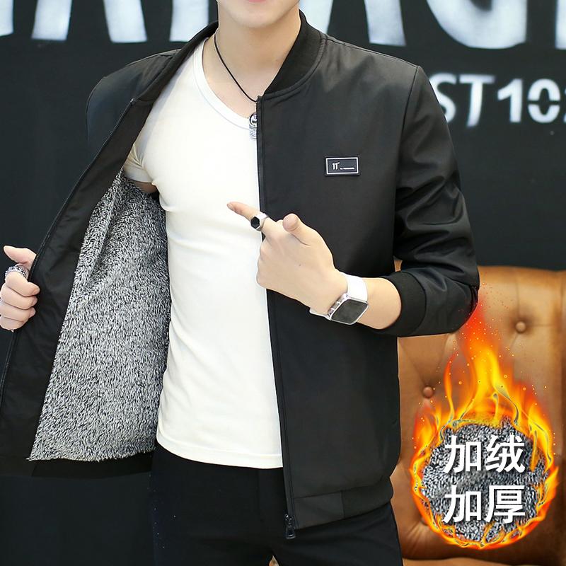 男士秋冬季加绒立领外套韩版休闲青年文艺学生潮流修身上衣男装夹