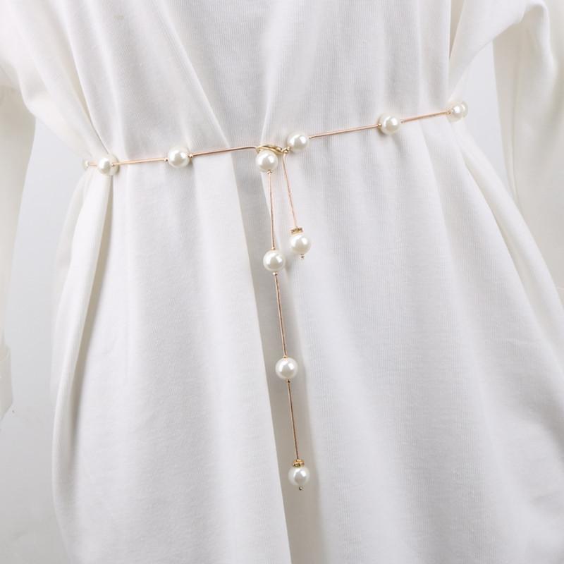 腰链女士珍珠装饰细腰带简约百搭配连衣裙水钻镶嵌时尚小皮带裙带