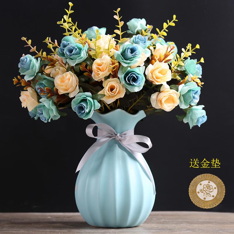 小清新陶瓷花瓶创意时尚简约现代客厅餐桌电视柜干花花插花器摆件