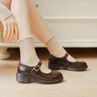 粗跟lo鞋中跟赫本鞋玛丽珍鞋女复古小皮鞋制服鞋单鞋日系鞋子jk鞋图片