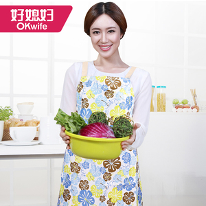 Good wife kitchen apron waterproof and oilproof fashion simple apron Korean cute apron sleeves women