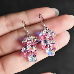 Austrian Crystal Earrings Female Swarovski Elements S925 Sterling Silver Pin Earrings Super Flash Earrings Long Tassel Earrings