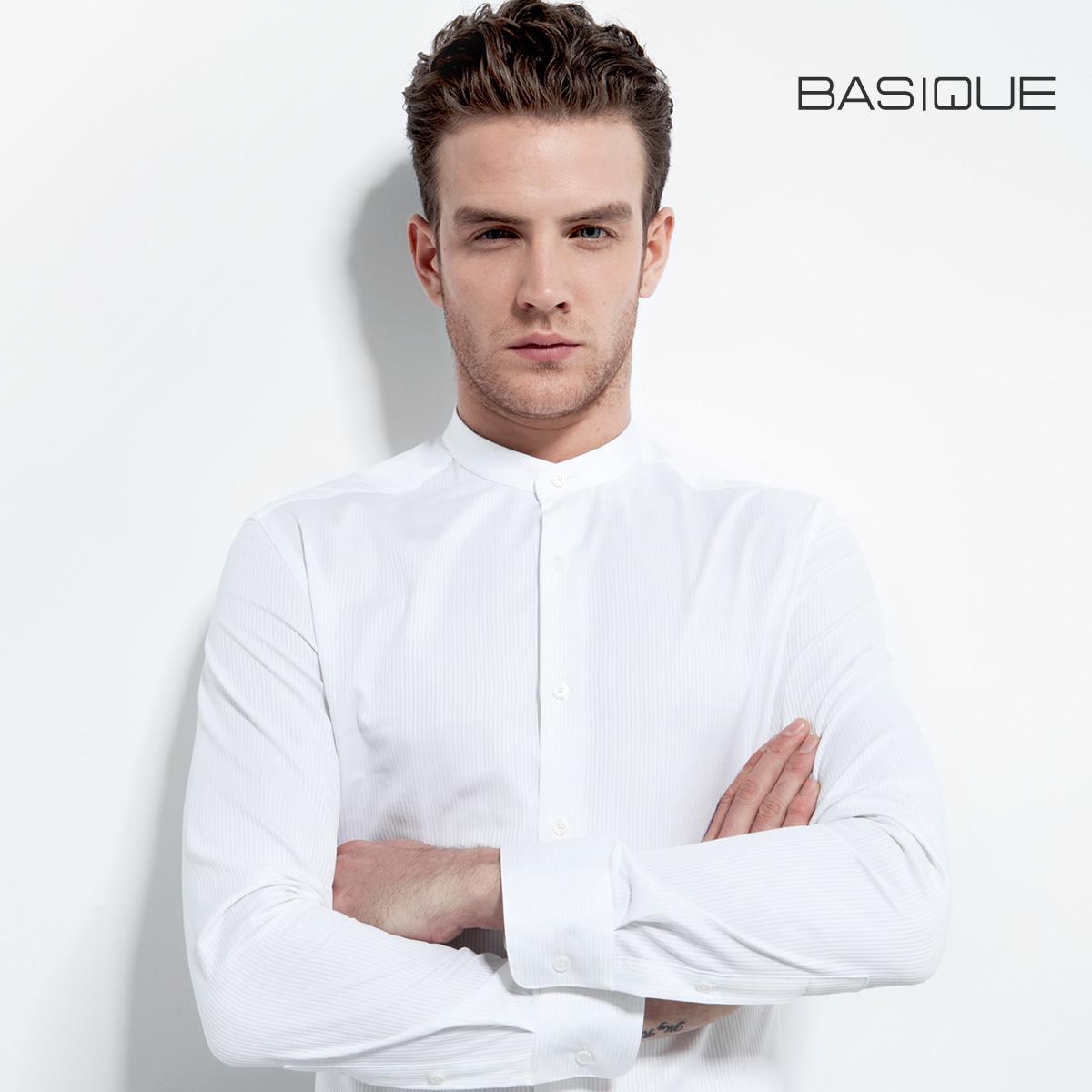 元本BASIQUE小立领修身男长袖衬衫 白色纯棉商务小清新 中国风