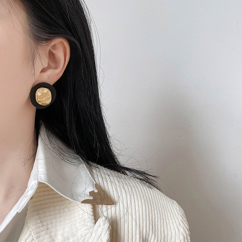简约金属风亚克力哑光耳钉女新款潮时尚名媛高贵轻奢气质耳环耳饰