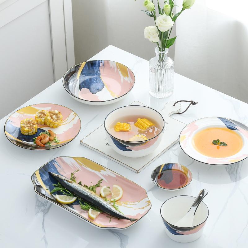 碗碟套装家用日式ins风个性创意餐具情侣早餐套餐陶瓷饭碗盘碟子满40元减10元
