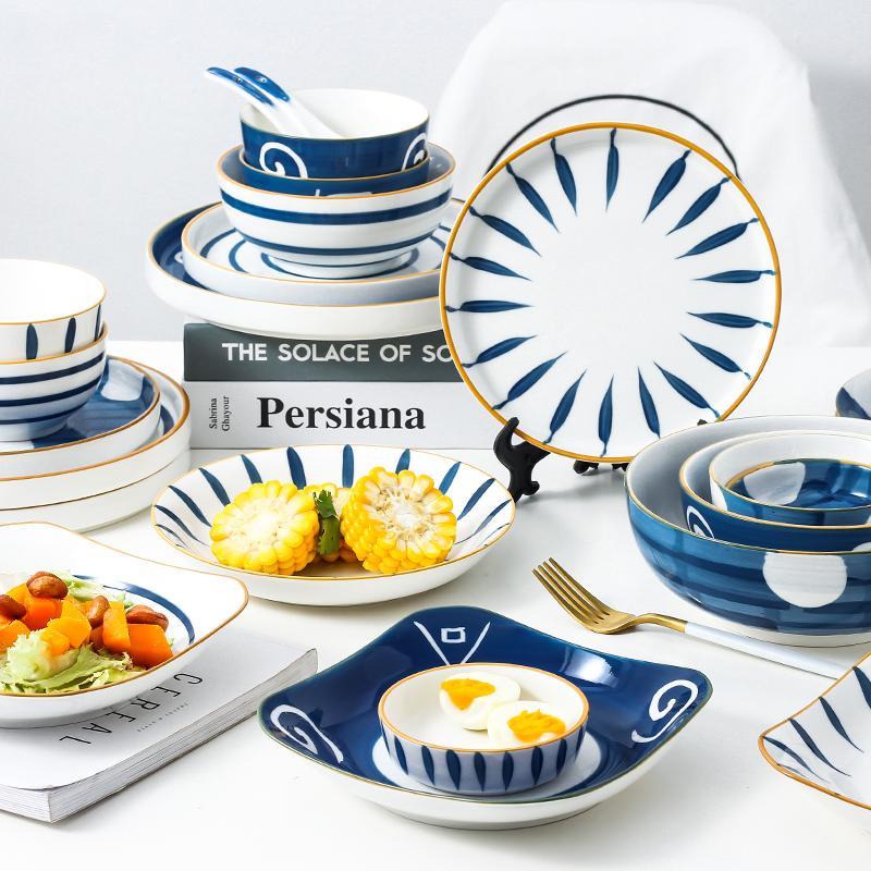 碗碟套装家用创意网红日式餐具釉下碗盘个性饭碗汤碗筷情侣早餐盘