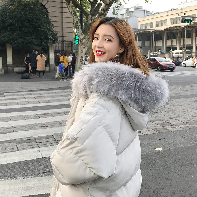 哈琳莉莉2018冬季新款宽松学生中长款加厚大毛领棉衣女外套面包服