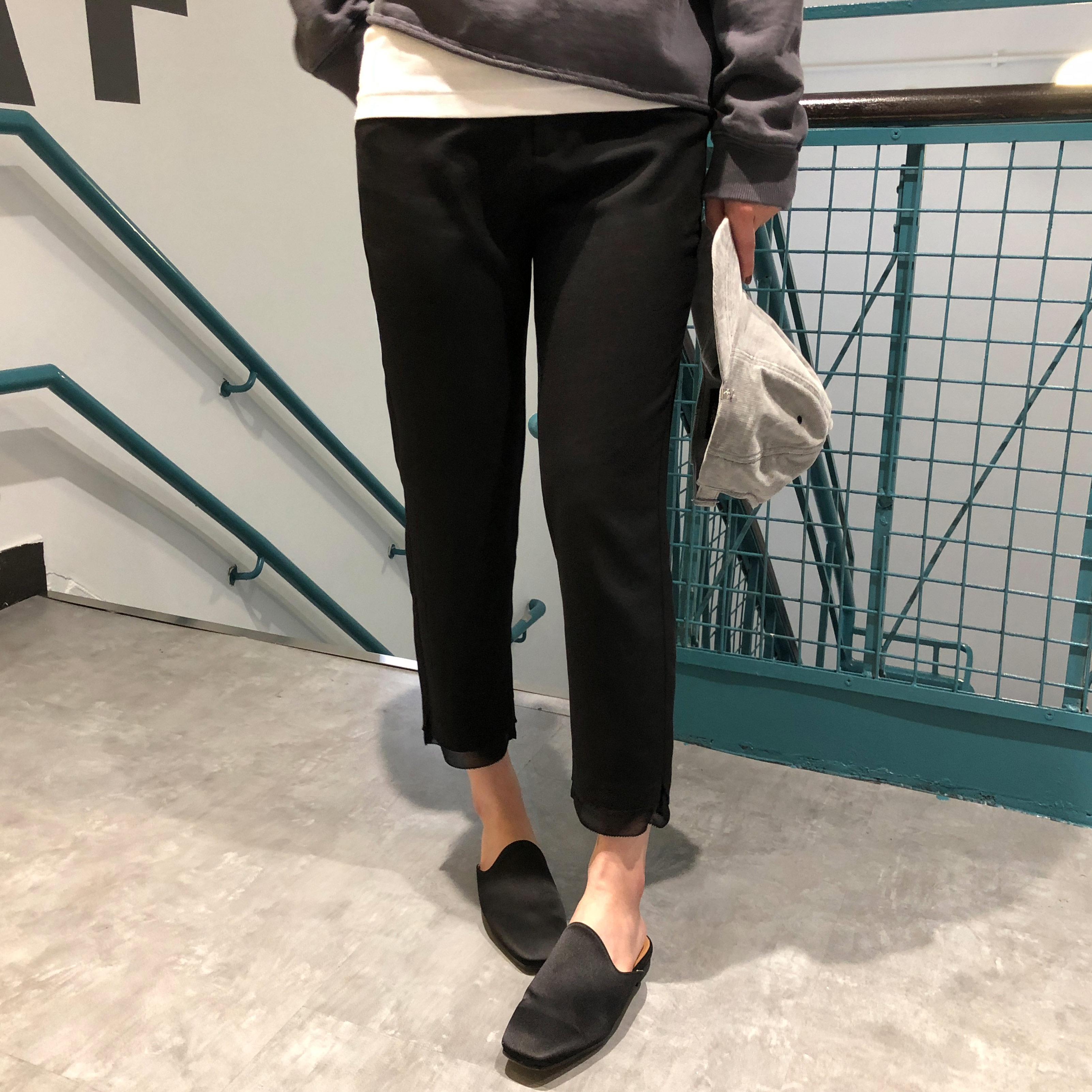 sundaymerry 18春夏|雪纺拼接小脚西裤女黑色九分裤