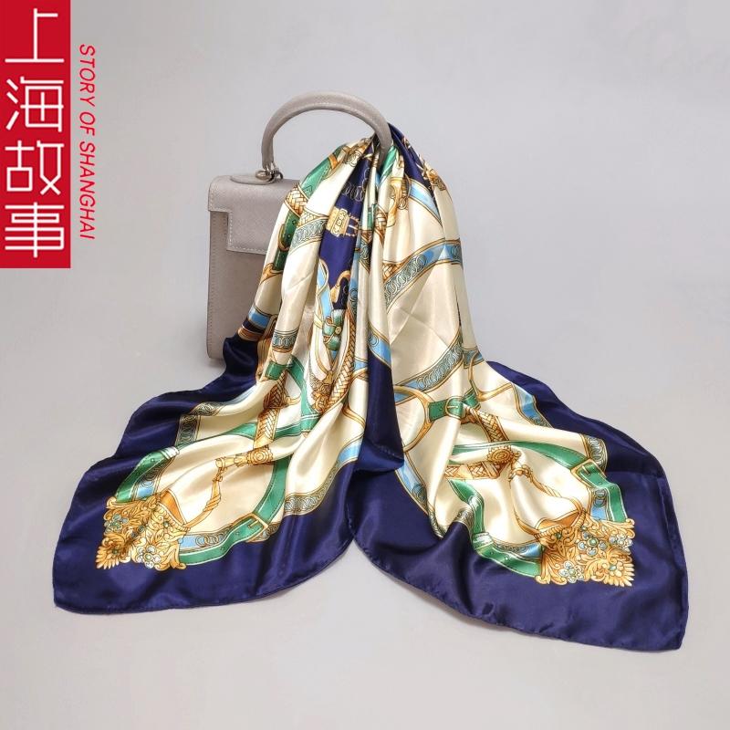 上海故事大方巾丝巾女春秋新款百搭缎面薄围巾正方形纱巾90x90cm