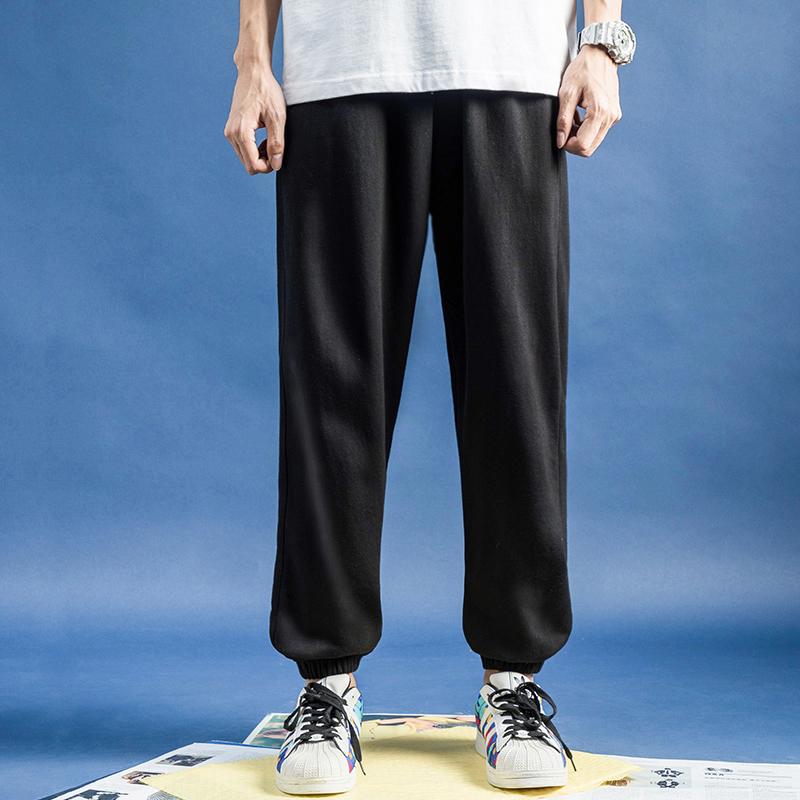 运动裤男宽松束脚裤秋季黑色休闲长裤收脚潮牌收口哈伦裤针织卫裤