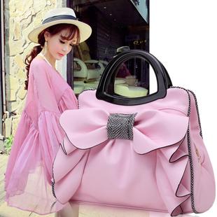 包包2020新款潮韩版百搭斜挎褶皱蝴蝶结手提包甜美淑女可爱单肩包图片
