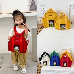 韩版新款儿童帆布包校园学生轻便简约手拎包男女童逛街休闲双肩包图片