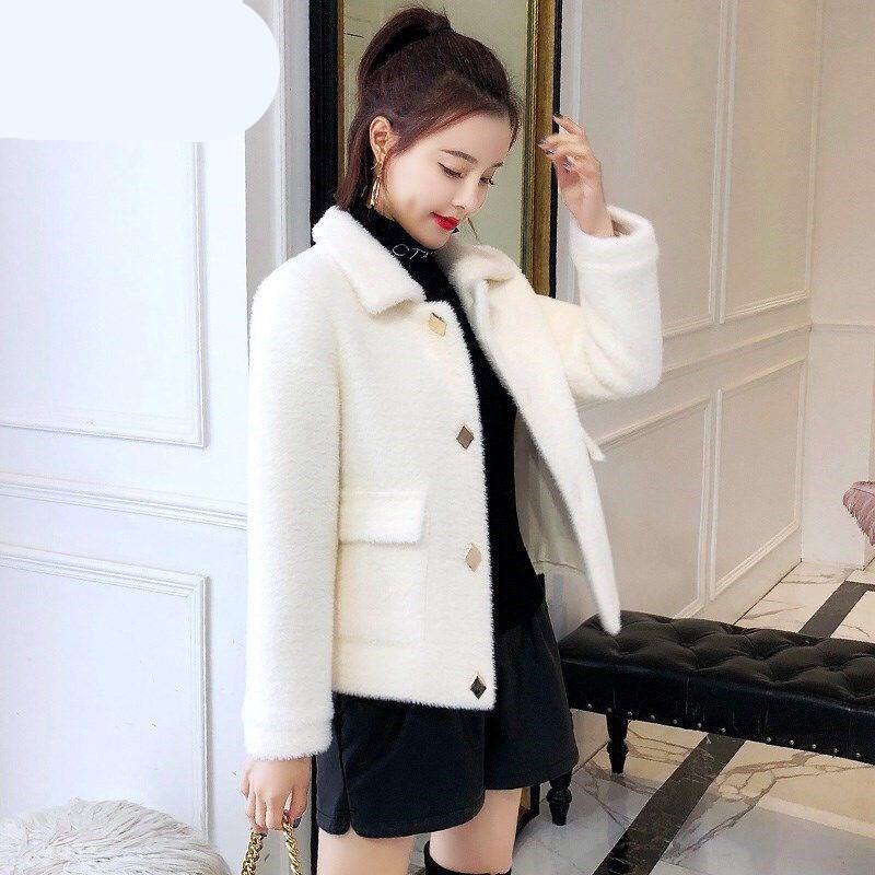 很仙女装水貂绒秋冬加厚外套2019新款韩版宽松女短款毛衣针织开衫