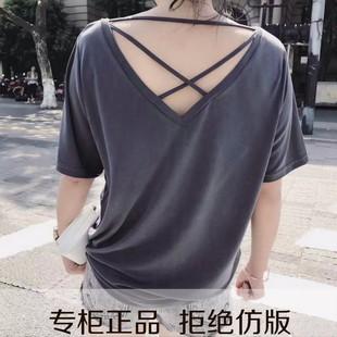 米朵拉2017夏装新款 光板宽松短袖t恤女交叉带露背冰棉垂感体恤潮