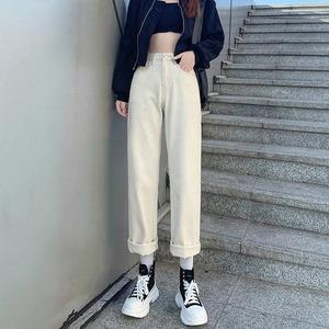 #直筒浅色秋冬款高腰哈伦裤长裤韩版老爹裤宽松牛仔裤,女装牛仔裤,V8牛仔