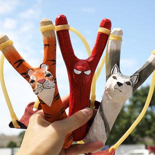 创意儿童玩具传统卡通手工木雕弹弓