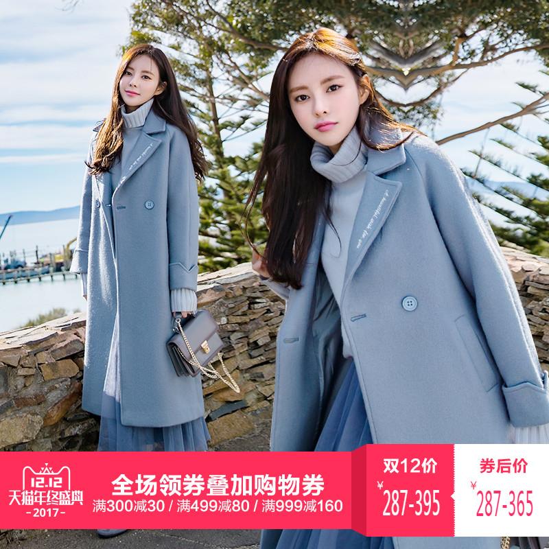 雾霾蓝毛呢大衣女冬加厚中长款韩国2017新款呢子学院风茧型外套