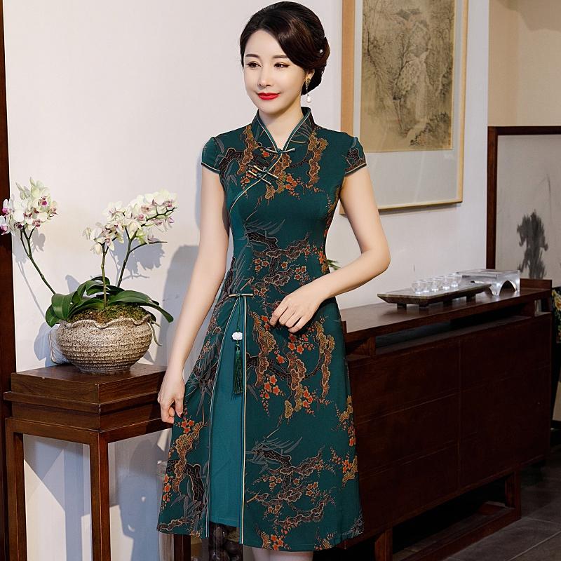 旗袍改良版连衣裙汉服女奥黛中国风大码长款优雅高贵香云纱旗袍装