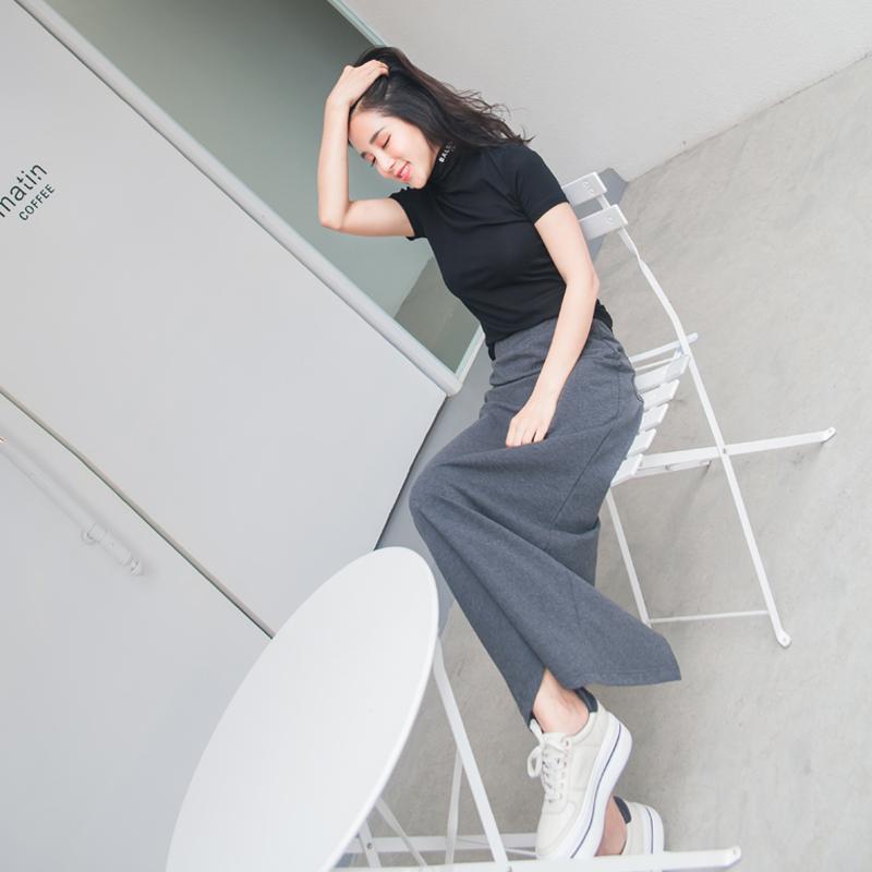鱼余2018夏装新款黑色高领韩版T恤套装裙两件套修身显瘦女装潮
