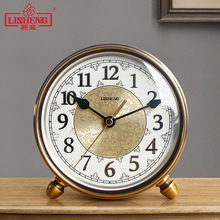 丽盛复古金属座钟静音客厅台款钟ku12摆件欧an卧室创意时钟