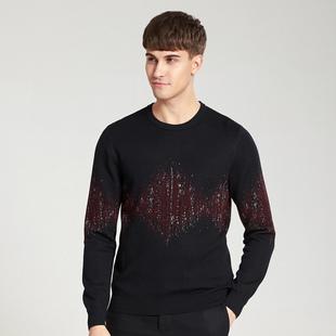 BONI/堡尼男士羊毛针织衫中青年黑色印花商务休闲羊毛衫男装上衣