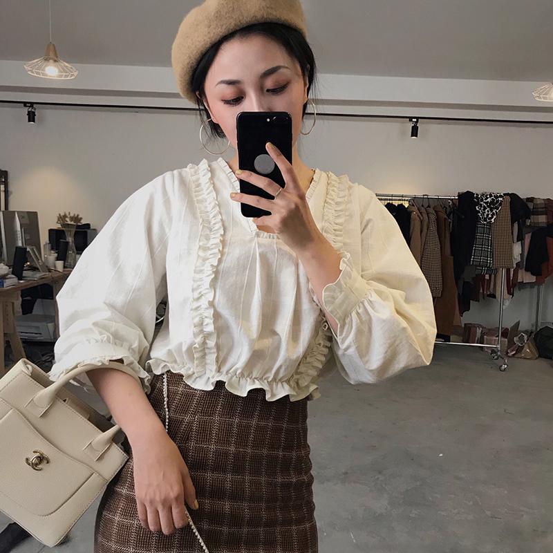 MAJI独立原创设计 复古小花边宫廷衬衫