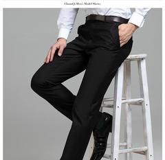 新款,夏季,男士,西裤,商务,直筒,中年,正装,蚕丝,西装,免烫,黑色