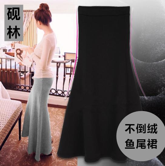 2020冬季女装长款保暖半身裙加绒加厚鱼尾裙长裙修身包臀性感显瘦