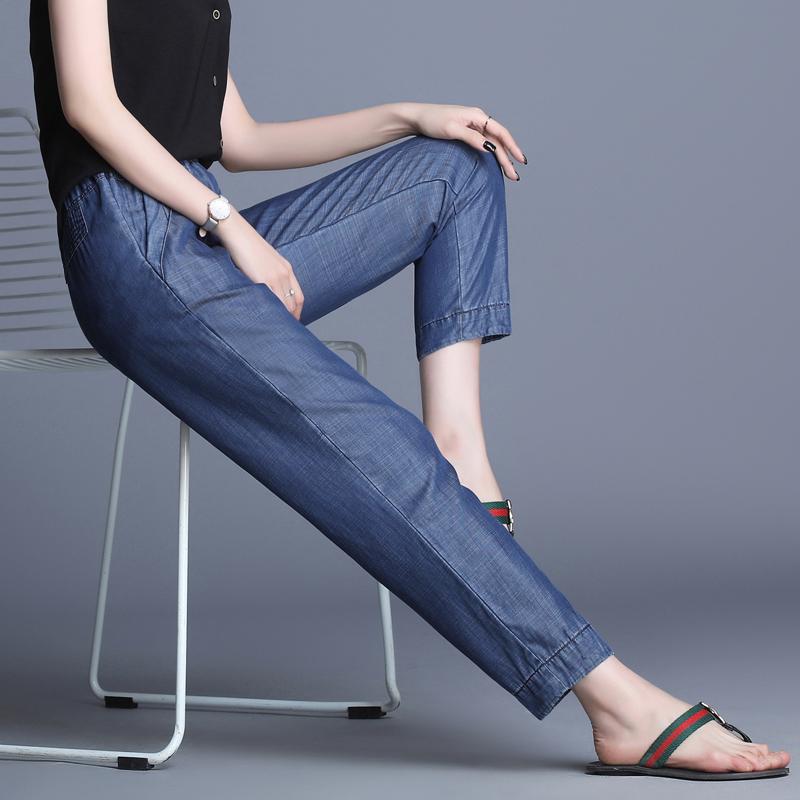 超薄天丝牛仔裤女直筒宽松大码夏季薄款2019新款冰丝松紧腰休闲裤