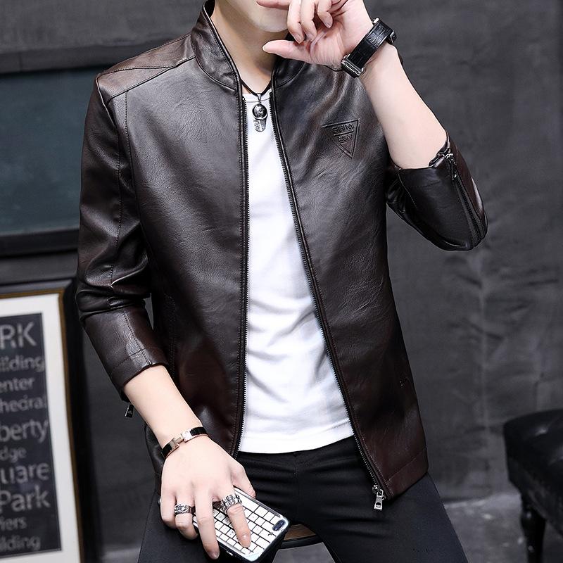 韩版机车男式皮衣春秋款男士帅气立领休闲外套秋季男青年潮皮夹克