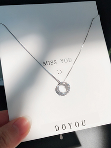 925 Silver Necklace Female Circle Pendant Swarovski Rhinestone ins Simple Chic Clavicle Chain Wild Girlfriend Gift