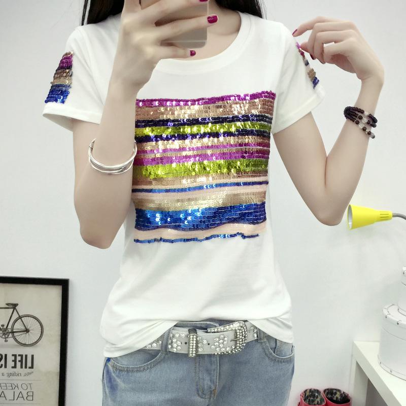 夏季新款白色短袖T恤女装韩版体恤修身亮片上衣显瘦长袖打底衫潮