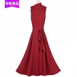 2020夏季新款晚装礼服宴会收腰显瘦专柜气质背心连衣裙纯色长裙