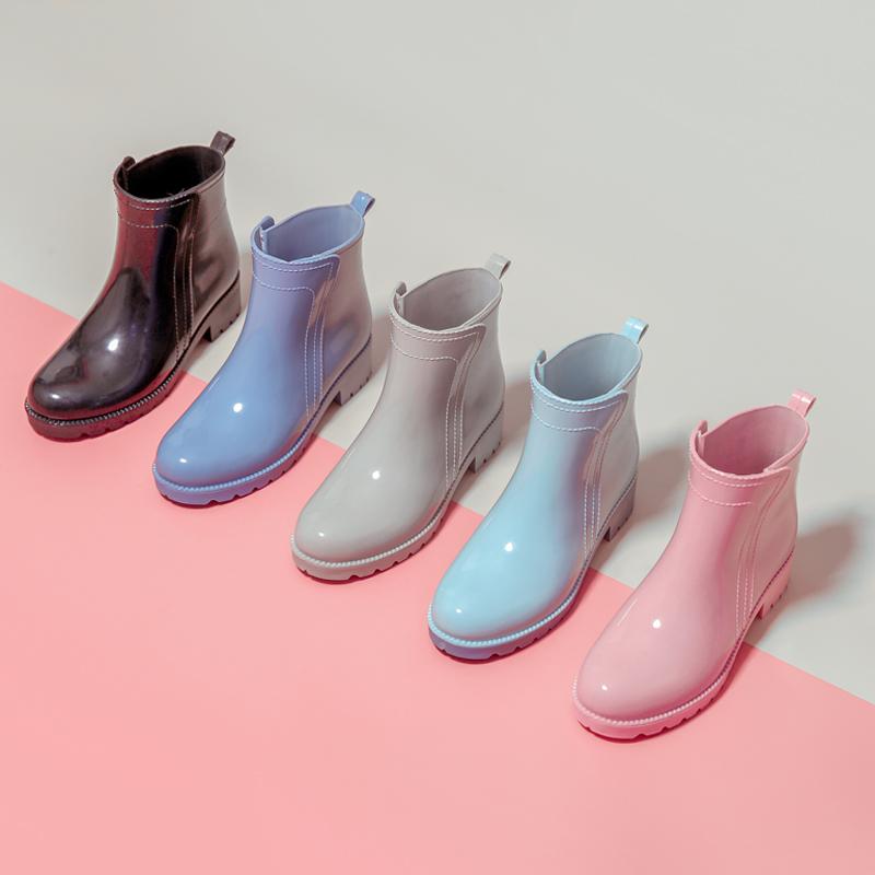 雨鞋女士短筒女式时尚款外穿胶鞋防滑防水鞋冬加绒套鞋切尔西雨靴